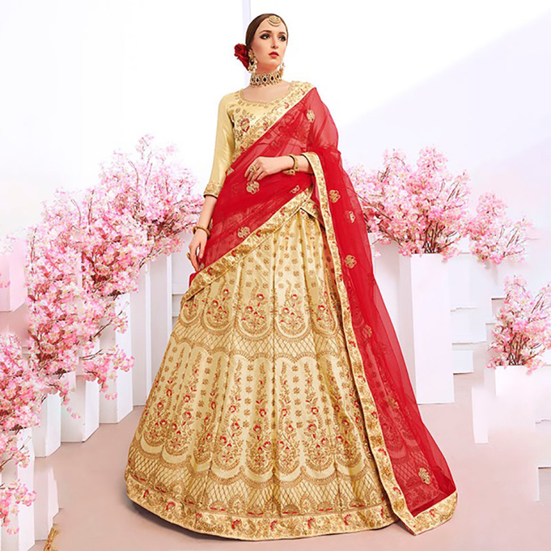 Lehenga Choli India for Women Wedding Silk Floss Embroidery Luxurious Coustme Indian...
