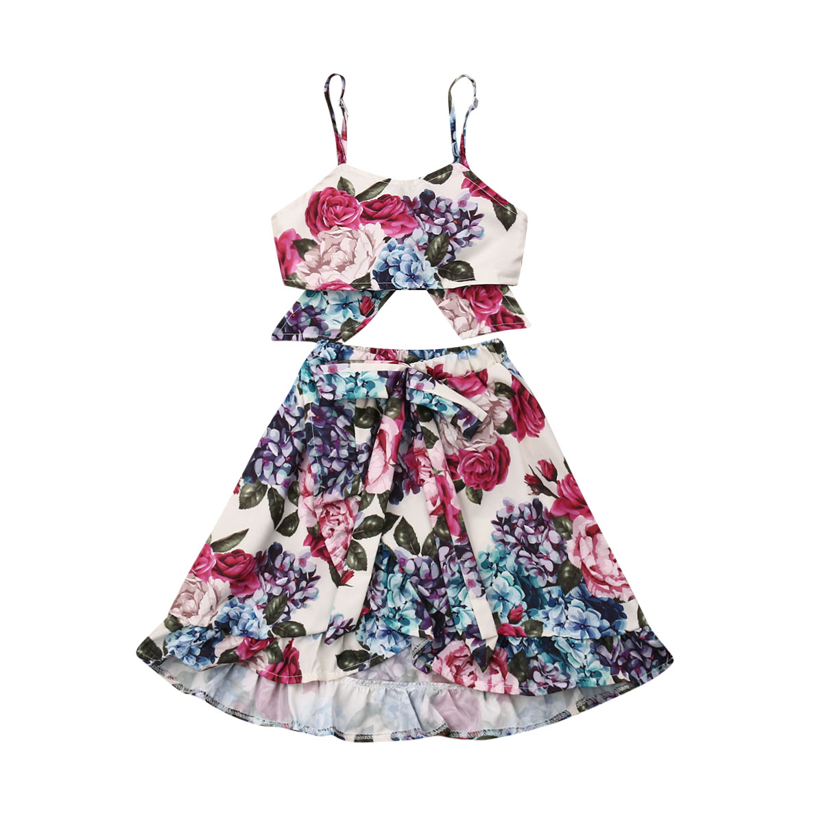 Toddler Baby Girls Floral Boho Skirt Sets Summer Outfit Ruffle Tank Top Irregular Maxi Dress Beach Dresses Clothes