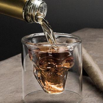Kubek do kawy dwuwarstwowy przezroczysty kryształowy kubek czaszki szklany kubek do gospodarstwa domowego Whiskey wino wódka Bar Club Beer tanie i dobre opinie UKCOZY CN (pochodzenie) ROUND CE UE Szkło Pojemnik na koktajl Ekologiczne F0405 Beer mug Coffee Glass Cup Tea cup Wine Glass