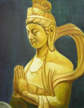 100% Hand-painted Buddha Wall Décor Oil Painting on Canvas Gold Body and Praying Wall Art Home Decorations