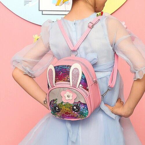 Cute Kids Toddler Girls Sequin Rabbit Glitter Bling Schoolbag Backpack Travel Shoulder Bag Satchel
