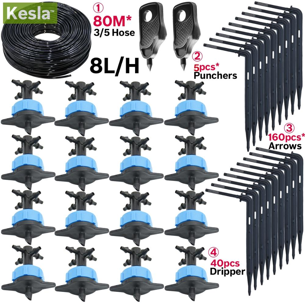 KESLA 8L/H Arrow Drip System Emitter 4-way Drip Arrow Dripper 40/20/10/5sets Greenhouse Irrigation System Water Drop Garden
