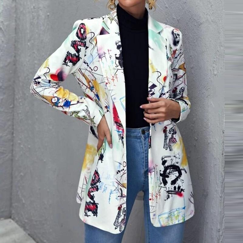 H20db6b8b98e043c58e1f87e7e411f27cd Fashion Trend Women Lapel Leopard Print Long Sleeves Suit Jacket Elegant Fall Winter Office Lady Cardigan Coat Casual Streetwear