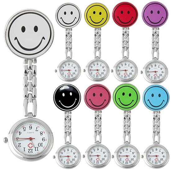 Portable Womens Pocket Watch Cute Smile Face Quartz Clip On Brooch Nurse Pocket Watches Gift Nurse Watch