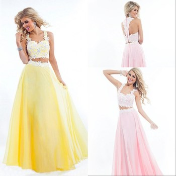 gala jurken robe de soiree vestido festa longo Chiffon Long Lace Pink Two Piece Prom Dresses 2019 vestidos prom dress
