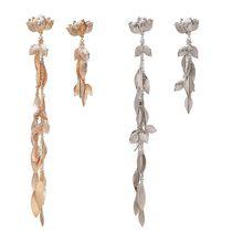 women lady Metal elegant Leaf Tassel Long Asymmetric Drop Earrings Statement Wedding Party Jewelry