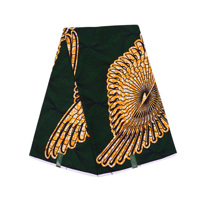 2019 New African Fabric 100% Cotton Dark Green Print Fabric Guarantee Real Dutch Wax