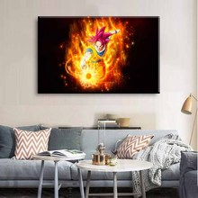 Art Poster Pictures Decoration HD Printing 5 Pieces Super Saiyan God Dragon Ball Modular Modern Home Living Room Wal
