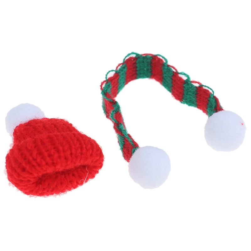 1:6 1:12 Dollhouse Miniature Christmas Hat Scarf Dollhouse Accessories Xmas E3R