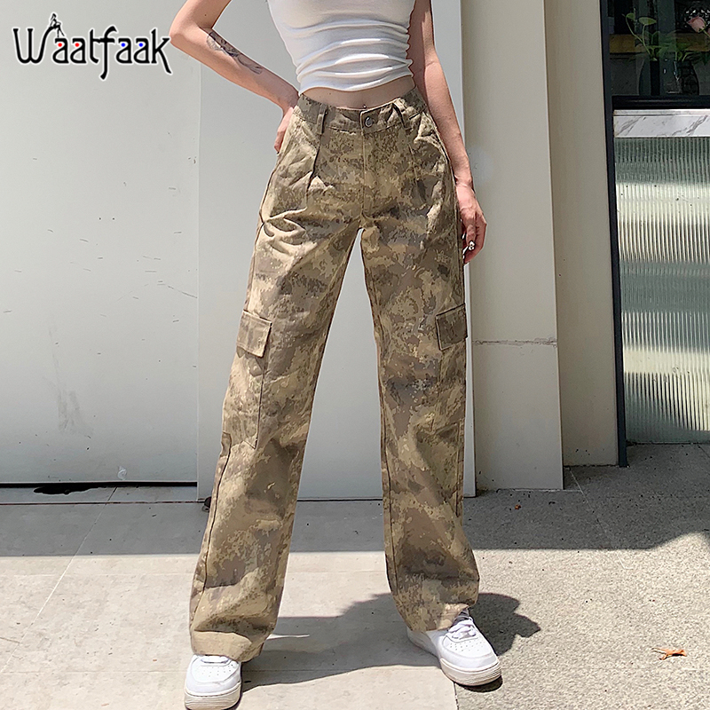 Waatfaak Pockets Hip Hop Cargo Pants Women Harajuku Baggy Straight Camo Pants Capris High Waist Trousers Summer Streetwear 2020
