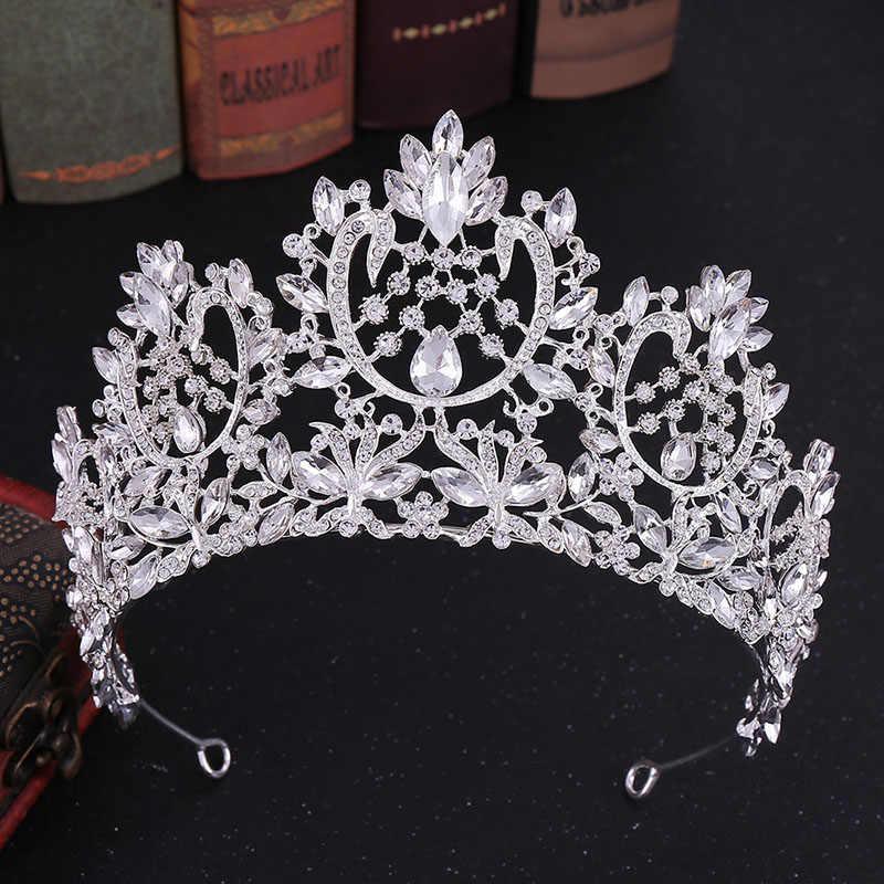 Mariée mariage couronne roi princesse couronne roi reine rouge or grande couronne mariée Baroque cristal diadème cheveux accessoires bijoux fille