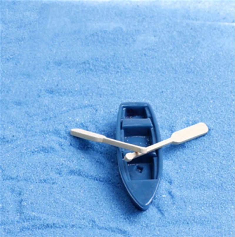 3 Buah/Set Mini Perahu Dayung Miniatures Peri Ornamen Taman Miniatur Resin Alami Patung Terrarium Dekorasi Taman