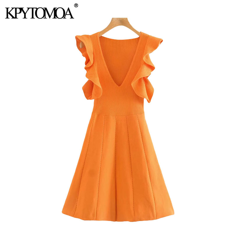 KPYTOMOA Women 2020 Chic Fashion Ruffled Trims Knitted Mini Dress Vintage V Neck Sleeveless Female Dresses Vestidos Mujer