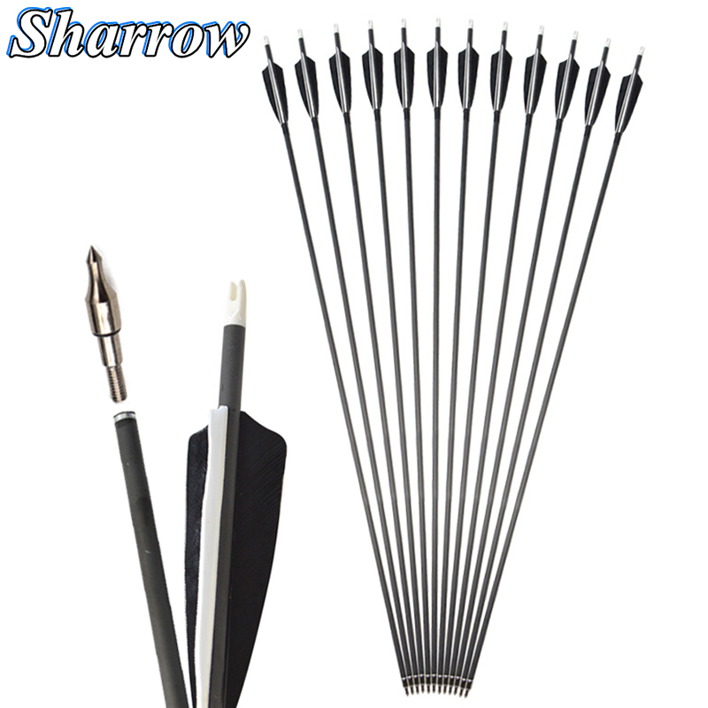 6/12/24pcs Spine 500 Carbon Arrow 35Inches 7.2mm with 4inch Shield Feather for Compound Bow Hunting Recurve Bow Archery Shooting
