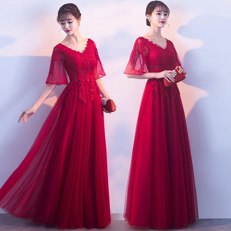 Red Bridesmaid Dresses Half Sleeves Vestido De Festa Longo Elegant Dress Women For Wedding Party Embroidery Sexy Dress Prom Club