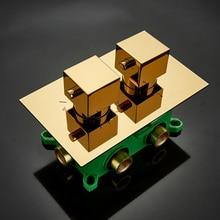 Встроенный ящик черный хром Золотой термостатический душевой смеситель клапан латунный смеситель для душа смесительная Ванна душевой смеситель картриджи, клапан F