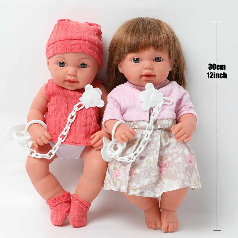 30.5cm 현실적인 비비 다시 태어난 신생아 트윈 긴 머리 인형 12 인치 전신 부드러운 실리콘 사운드 교육 완구 소녀 파트너