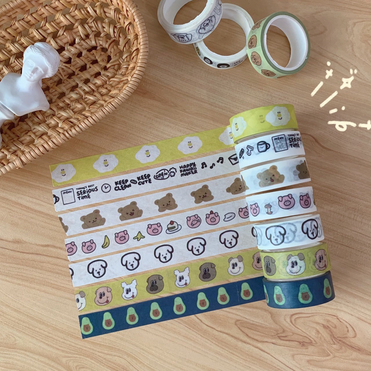 1 Roll Kawaii Washi Tape Cute Animal Alphabet Pattern Translucent Stationery Washi Tape Masking Tape Diary Journal Decoration