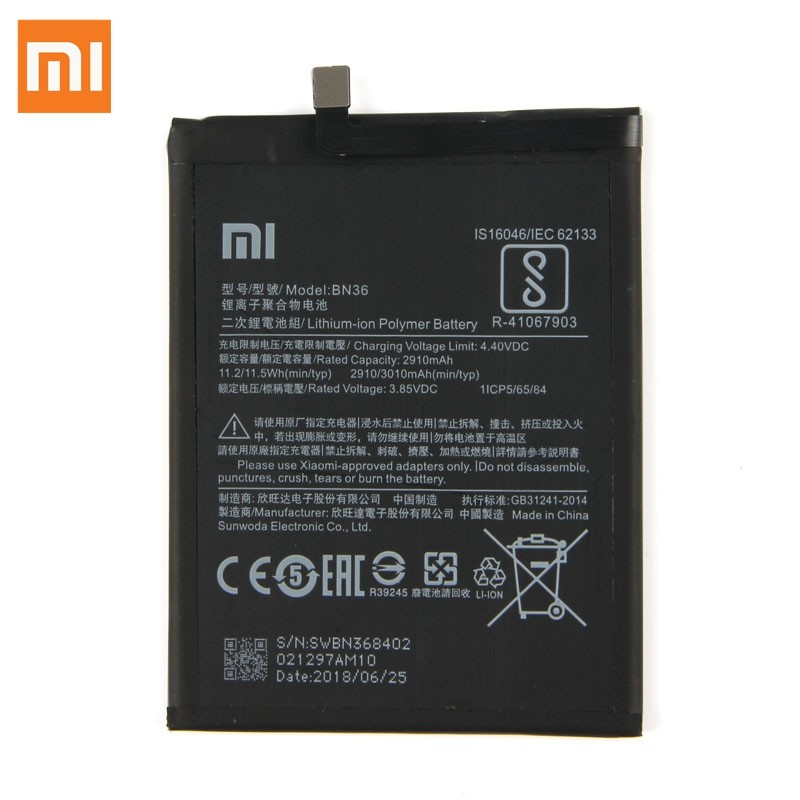 Original Replacement <font><b>Battery</b></font> For Xiaomi <font><b>Mi</b></font> <font><b>6X</b></font> BN36 Genuine Phone <font><b>Battery</b></font> 3010mAh image