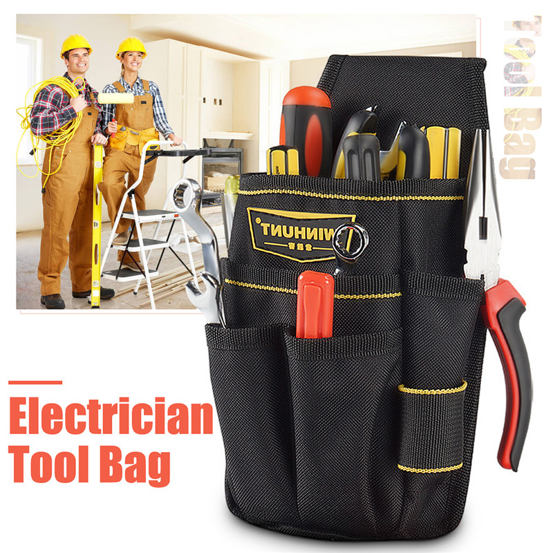 Electrician Tool Pouch Waist Bag Multi-function Screwdriver Hammer Wrench Drill Storage Tool Bag With Adjustable Belt