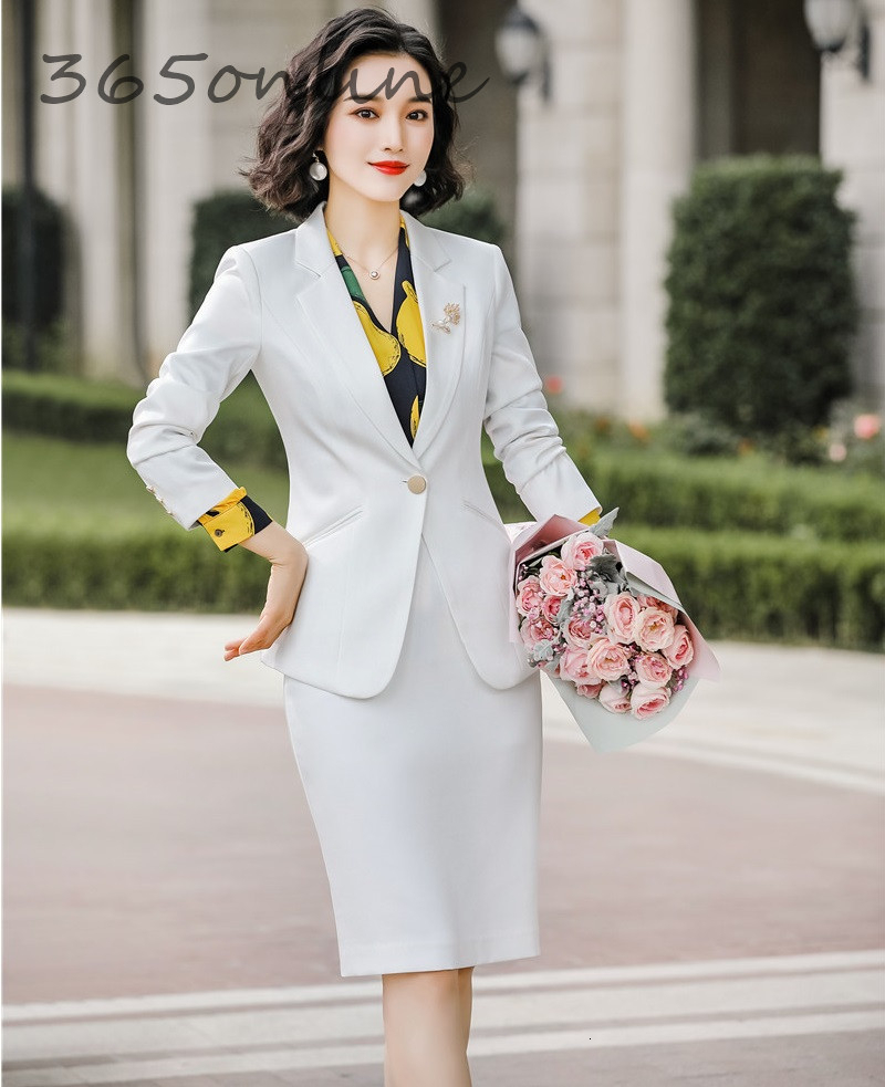 Novelty White Fashion Styles Autumn Winter Women Business Suits With Skirt And Tops Ladies Office Work Wear OL Blazers Set