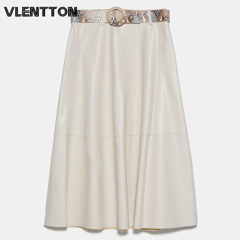 2020 Spring Autumn Fashion PU Faux Leather Skirts Women With Sashes Solid A-Line Casual High Waist Midi Skirt Female Faldas Saia