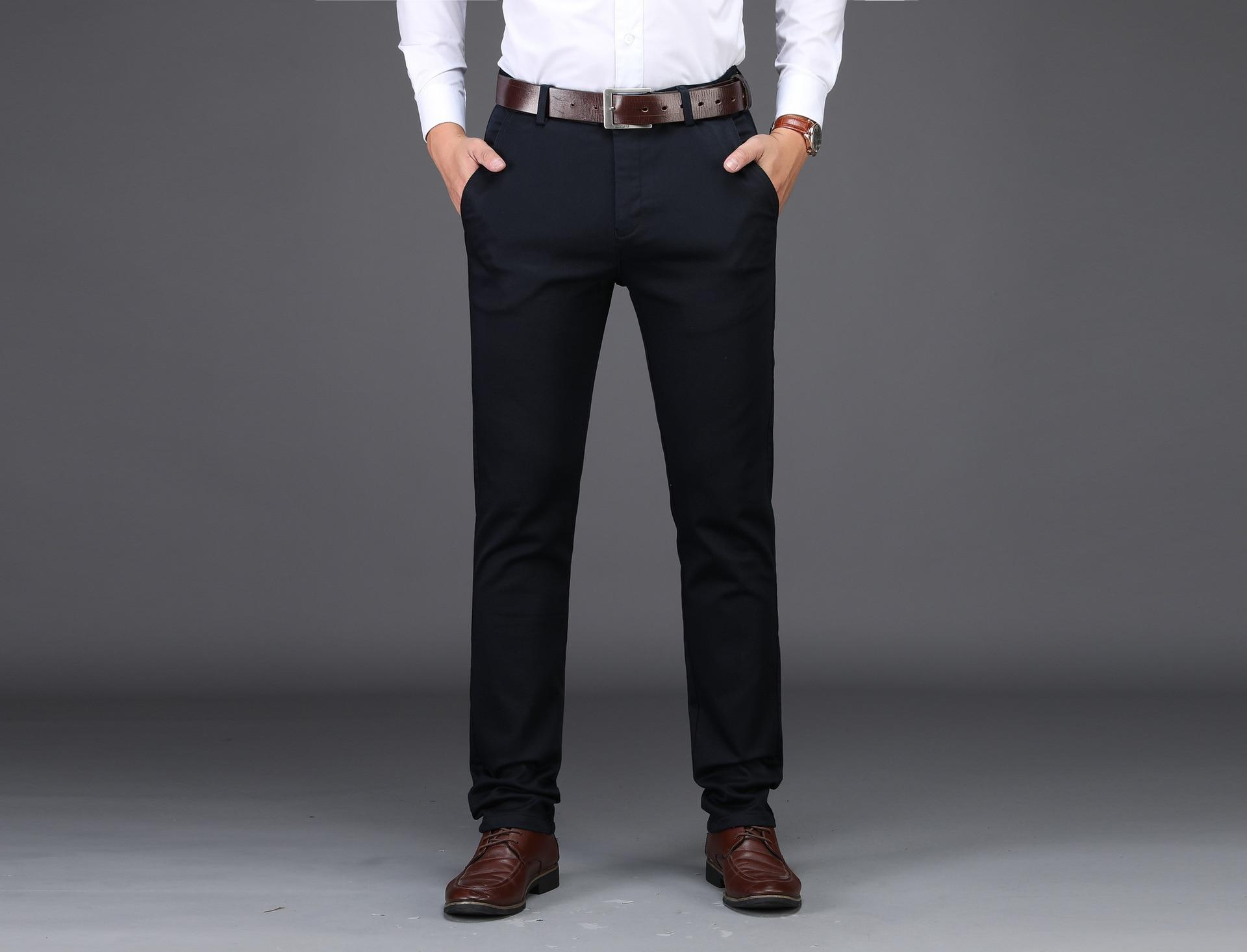 Casual Pants Men Solid Color Business Straight Slim Long Pants 1820 # Men's Autumn & Winter-Multi-color-