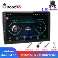 Podofo 2din car radio 9 Android 8.1 2.5D screen autoradio GPS navigation Wifi Car Multimedia Plaryer for Universal 2Din stereo