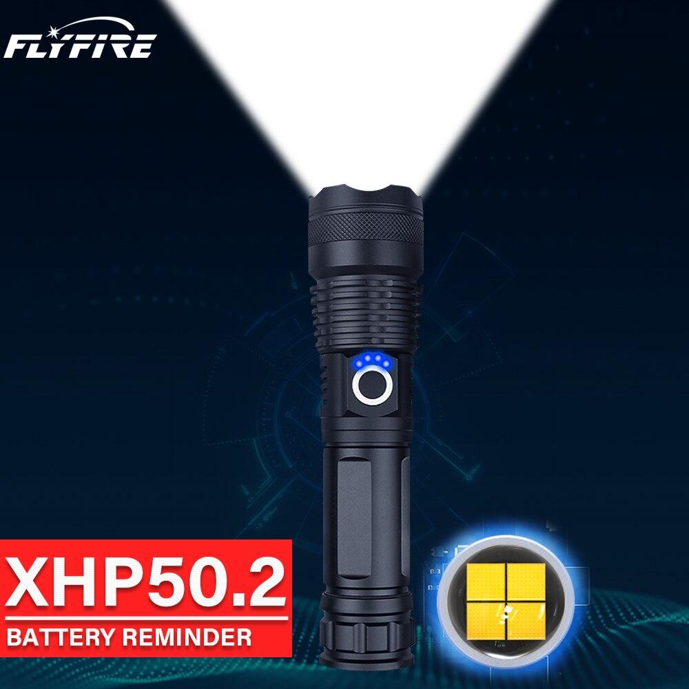 300000lm xhp50.2 lanterna led potente tocha usb recarregável Lanternas led de alta potência 18650 26650 bateria xhp50 flash light