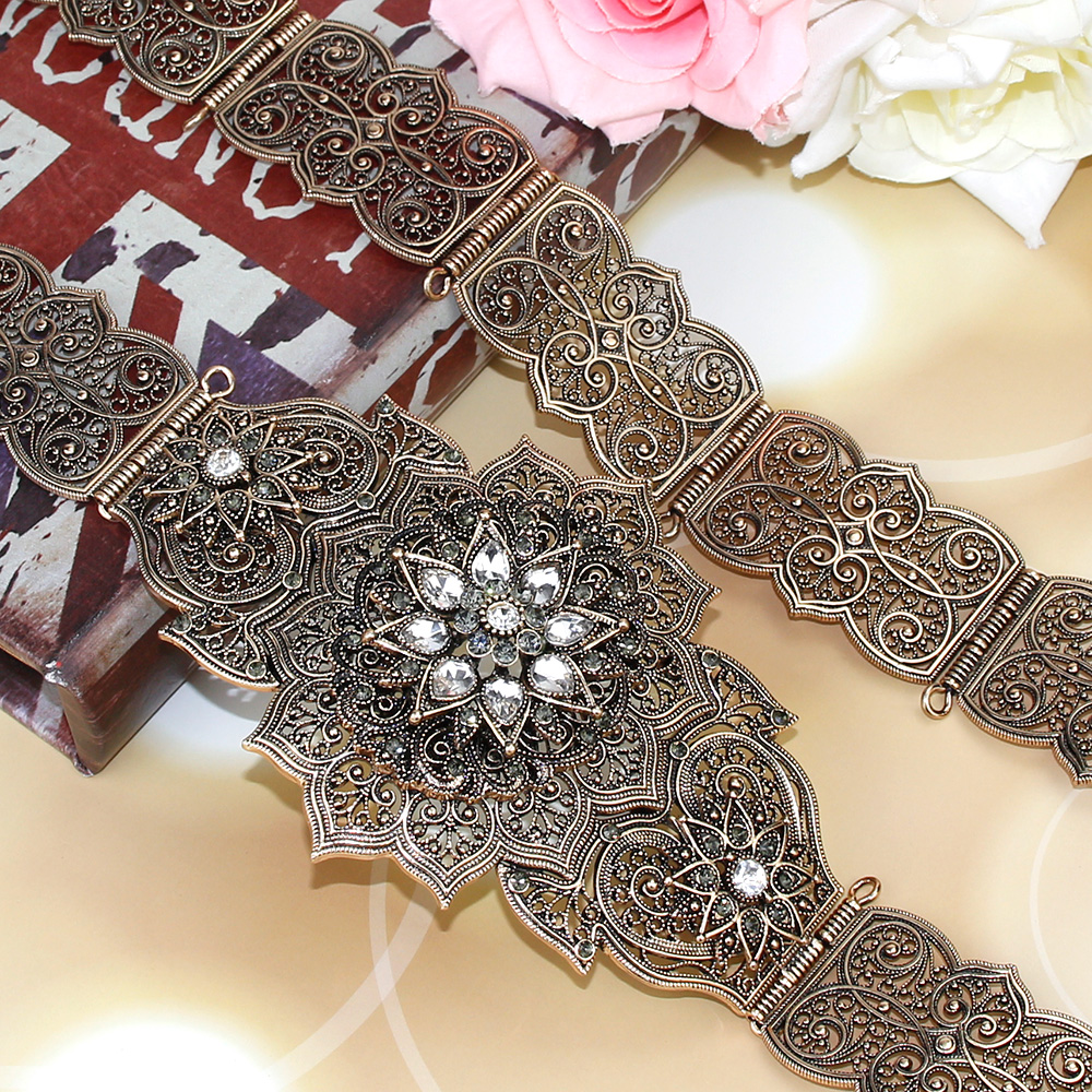 SUNSPICEMS Old Rose Gold Color Metal Caucasus Women Belt Victorian Carving Waist Chain Jewelry Morocco Caftan Belt Adjust Length