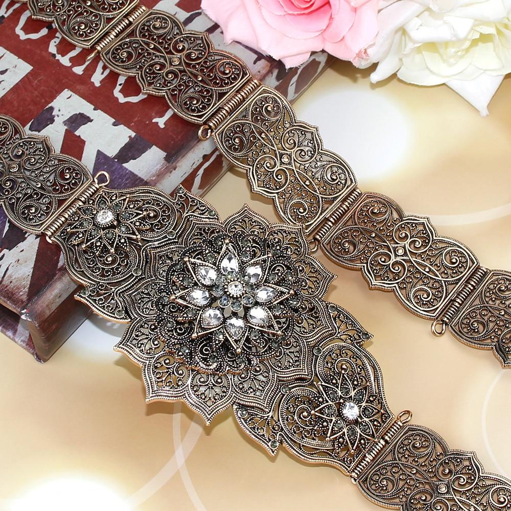 SUNSPICEMS Old Rose Gold Color Metal Caucasus Women Belt Victorian Carving Waist Chain Jewelry Morocco Caftan Belt Adjust Length