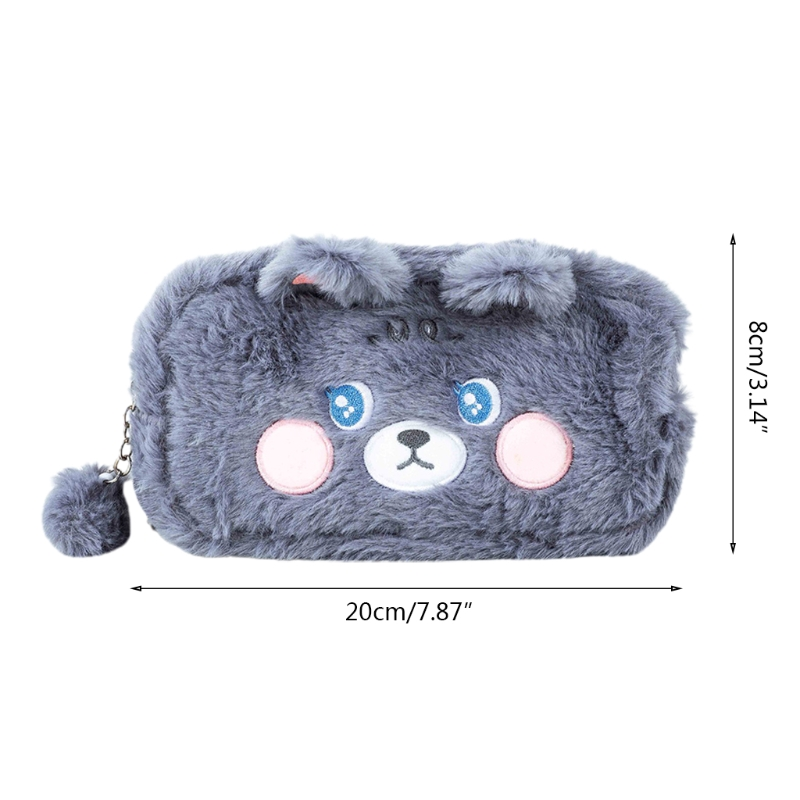 D57D Creative Fluffy Kitten Pencil Pouch Large Cosmetic Pouch Plush Ball Zipper Multipurpose Travel Storage Bag for students