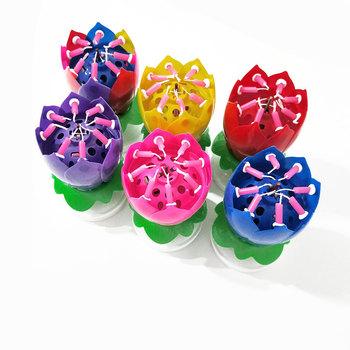 Muzyka świeczki na tort kwiat lotosu świeczki urodzinowe dekoracje do świętowania muzyki dekoracje na przyjęcie urodzinowe tanie i dobre opinie Art świeca Flower Urodziny Ogólne świeca Parafina Music Candles