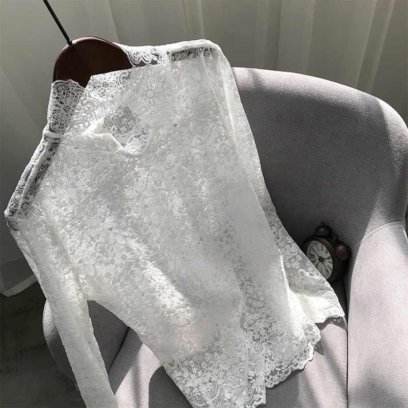 2019 di Autunno di Inverno Del Merletto Del Crochet T Camicette Del Basamento Delle Donne Del Collare Bianco di Pizzo Nero T Shirt Partita Con O-Collo Maglione Harajuku