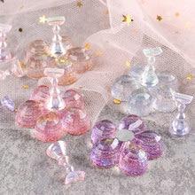 Présentoir de pratique des ongles + 1 support, aurore, étagère de présentation en cristal, faux ongles, outils de formation, manucure, 5 pièces