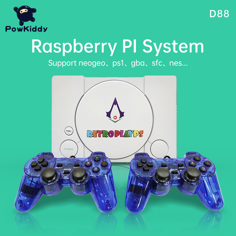 POWKIDDY D88 Retro Game Console HD Raspberry Pie 30 Simulator Retro Player Console Games Bulit In 7000 Games Double Gamepads