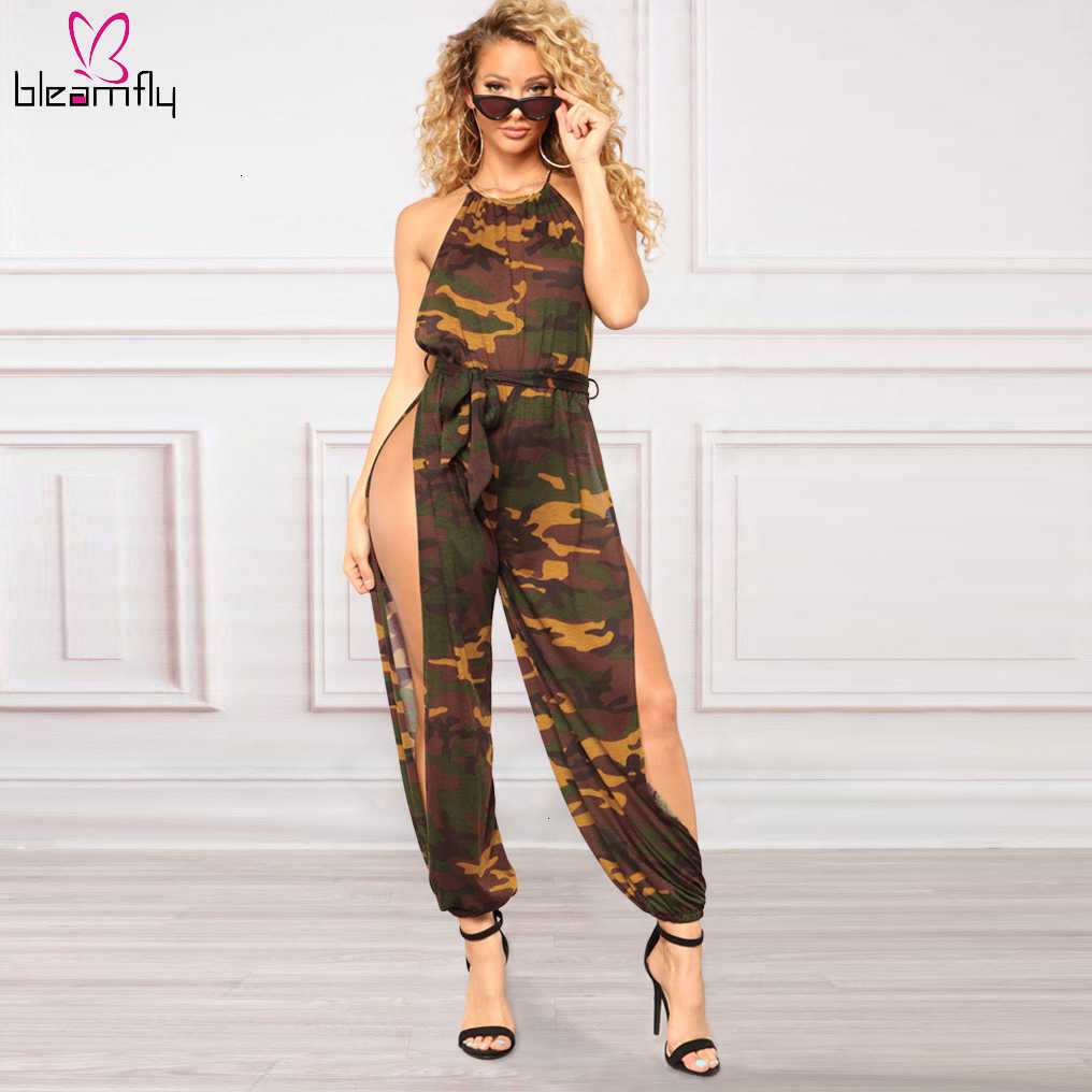 Camouflage Double Split Sexy Jumpsuit Women Halter Sleeveless Sashes Party Night Club Rompers Ladies Loose Plus Size Bodysuit