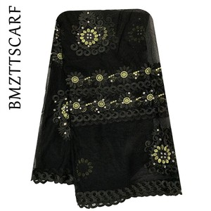 Image 5 - 2020 New African women scarf muslim embroidery net scarf hijab scarf big size scarf for shawls BM956