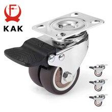 KAK 4pcs 2 inch Brake Swivel Caster Wheels for Trolley Pallet Universal Mute Soft Rubber Heavy Duty Rollers Furniture Hardware