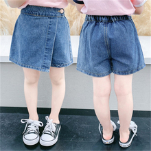 Lucashy 2021 New Summer Baby Girls Denim Short Casual Children Fake Two-Piece Jeans Shorts For Kis