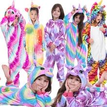 Зимние пижамы детские с рисунками животных для мальчиков и девочек Рождественские фланелевые пижамы для костюмированной вечеринки пижамы для детей с единорогом