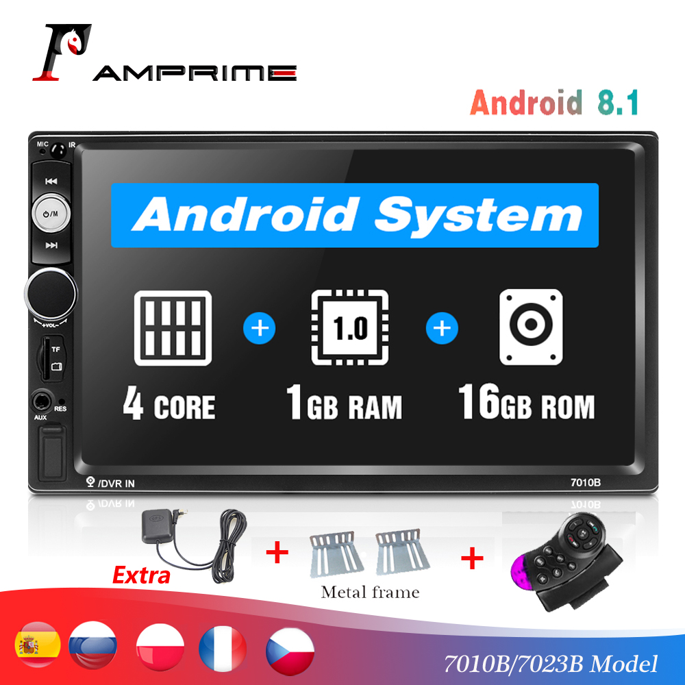 Amprime Multimedia-Player Autoradio Touch-Screen Bluetooth Universal 2-Din Car 7-TF USB title=
