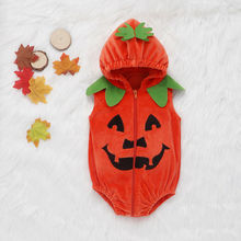 Emmababy Baby Bodysuit Girl Boy Halloween Hooded Zipper Pumkin Print Costume Jumpsuit For Party Newborn Toddler Kids Clothes