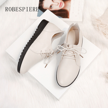 ROBESPIERE Hot Sale Round Toe Derby Shoes Quality Cow Leather Non-slip Wearable Flats Fashion Lace Up Casual Womens A38