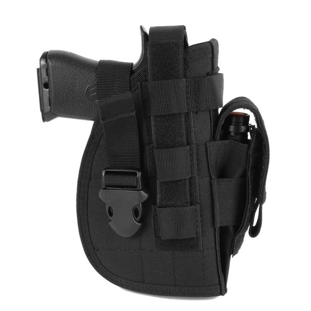 Tactical 600D Molle Gun Holster Military Rifle Bag for Right Hand Adjustable Handgun Holder with Mag Pouch Hunting Accessories 2