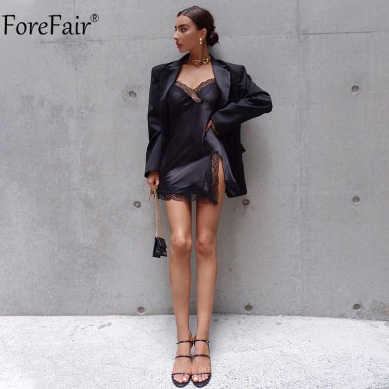 Forefair V-hals Patchwork Zomer Sexy Jurk Kant Vrouwen Spaghetti Band Split Club Mouwloze Backless Black Party Jurken Mini