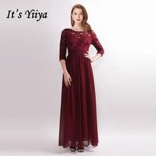 Its Yiiya Bridesmaid Dress A-Line Solid Floor-Length Lace Vestido Madrinha C496 O-Neck Three Quarter Sleeve Bridesmaid Dresses.