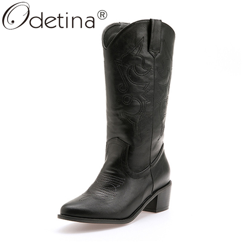 Odetina Cowboy-Boots Mid-Heel Chunky Western Pointed-Toe Embroider Cowgirl Big-Size Winter