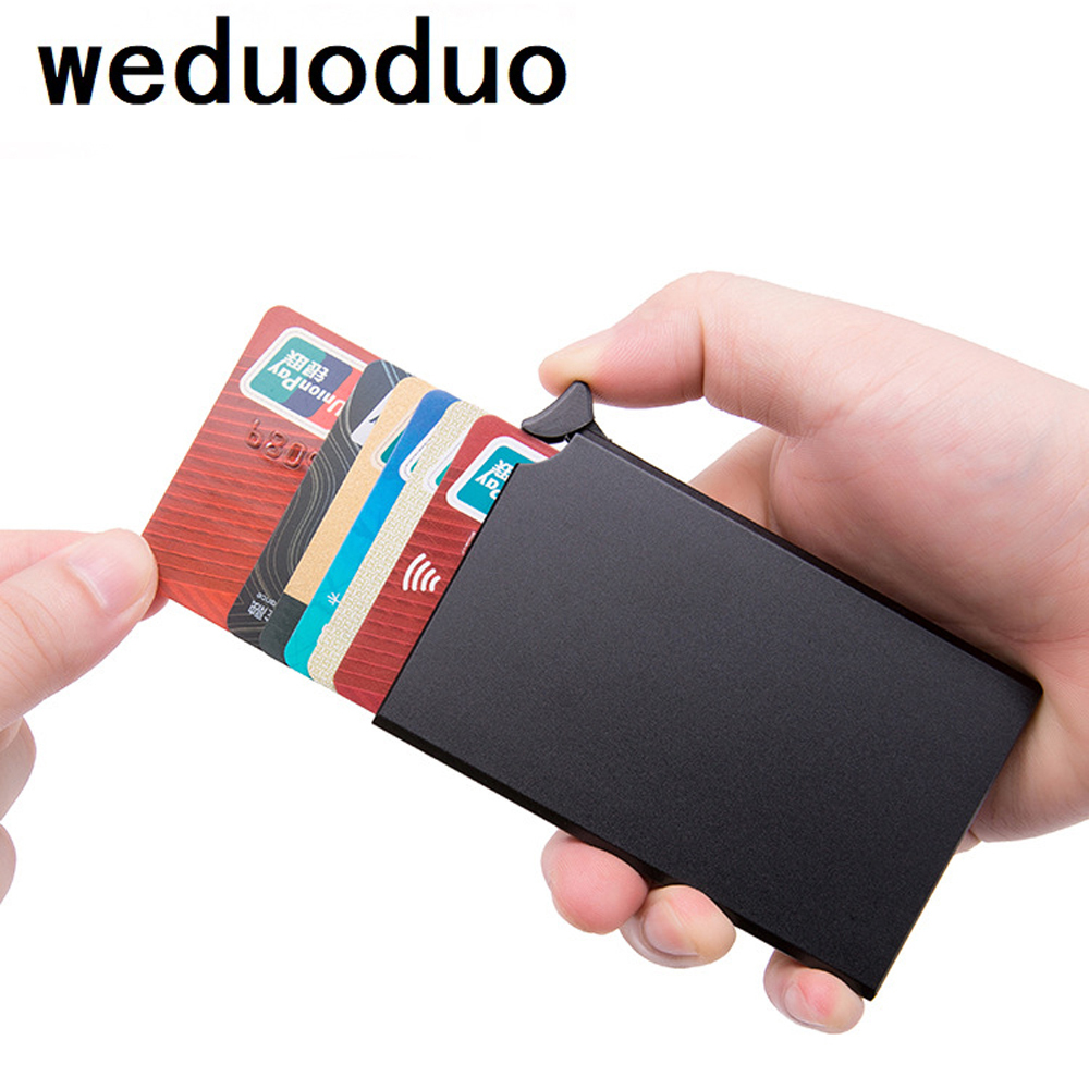 RFID Aluminium Alloy Credit Card Holder PU Leather Card Wallet Card Holder for Men Women Automatic Pop Up Card Case