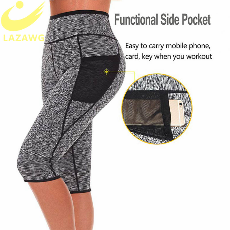 LAZAWG Women's Slimming Pants Hot Neoprene for Weight Loss Fat Burning Sweat Sauna Capris Leggings Shapers Hot Sweat Pants Waist